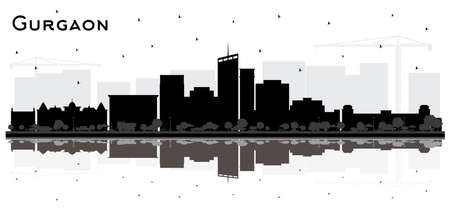 Gurgaon India City Skyline Silhouette with Black Buildings and Reflections Isolated on White. Vector Illustration. Tourism Concept with Modern Architecture. Gurgaon Cityscape with Landmarks.