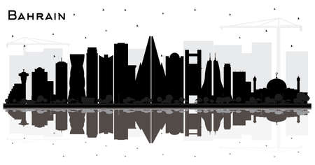 Bahrain City Skyline Silhouette with Black Buildings and Reflections Isolated on White. Vector Illustration. Tourism Concept with Modern Architecture. Bahrain Cityscape with Landmarks.