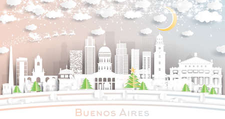 Buenos Aires Argentina City Skyline in Paper Cut Style with Snowflakes, Moon and Neon Garland. Vector Illustration. Christmas and New Year Concept. Santa Claus on Sleigh.
