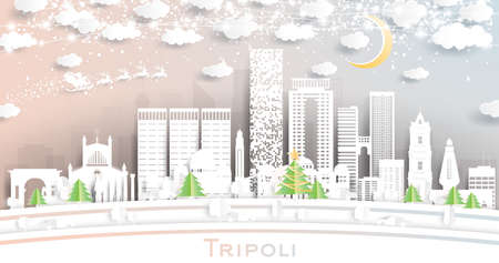 Tripoli Libya City Skyline in Paper Cut Style with Snowflakes, Moon and Neon Garland. Vector Illustration. Christmas and New Year Concept. Santa Claus on Sleigh.