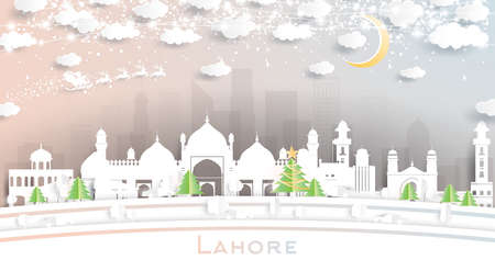 Lahore Pakistan City Skyline in Paper Cut Style with Snowflakes, Moon and Neon Garland. Vector Illustration. Christmas and New Year Concept. Santa Claus on Sleigh.