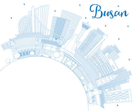 Outline Busan South Korea City Skyline with Blue Buildings and Copy Space. Vector Illustration. Business Travel and Tourism Concept with Historic and Modern Architecture. Busan Cityscape with Landmarks. Ilustrace
