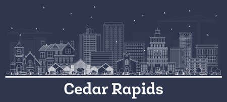 Outline Cedar Rapids Iowa Skyline with White Buildings. Vector Illustration. Business Travel and Tourism Concept with Historic Architecture. Cedar Rapids Cityscape with Landmarks.