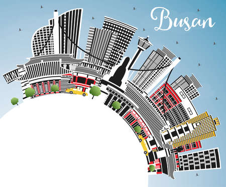 Busan South Korea City Skyline with Color Buildings, Blue Sky and Copy Space. Vector Illustration. Business Travel and Tourism Concept with Historic and Modern Architecture. Busan Cityscape with Landmarks. Ilustrace