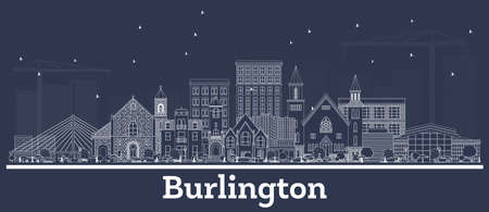 Outline Burlington Iowa Skyline with White Buildings. Vector Illustration. Business Travel and Tourism Concept with Historic Architecture. Burlington Cityscape with Landmarks. Ilustrace