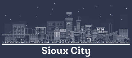 Outline Sioux City Iowa Skyline with White Buildings. Vector Illustration. Business Travel and Tourism Concept with Historic Architecture. Sioux City Cityscape with Landmarks. Ilustrace