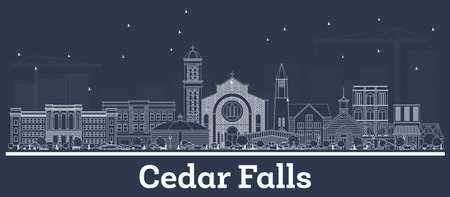 Outline Cedar Falls Iowa Skyline with White Buildings. Vector Illustration. Business Travel and Tourism Concept with Historic Architecture. Cedar Falls Cityscape with Landmarks.