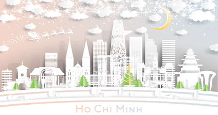 Ho Chi Minh Vietnam City Skyline in Paper Cut Style with Snowflakes, Moon and Neon Garland. Vector Illustration. Christmas and New Year Concept. Santa Claus on Sleigh. Ilustrace