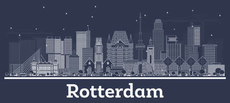 Outline Rotterdam Netherlands City Skyline with White Buildings. Vector Illustration. Business Travel and Tourism Concept with Historic Architecture. Rotterdam Cityscape with Landmarks.