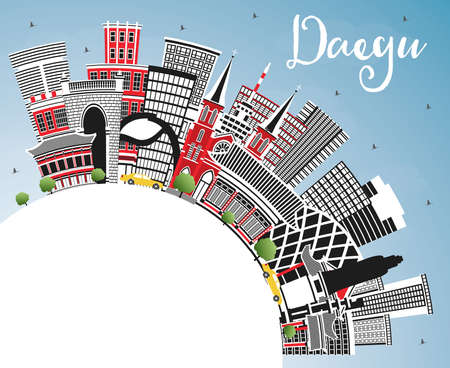 Daegu South Korea City Skyline with Color Buildings, Blue Sky and Copy Space. Vector Illustration. Business Travel and Tourism Concept with Historic and Modern Architecture. Daegu Cityscape with Landmarks. Ilustrace