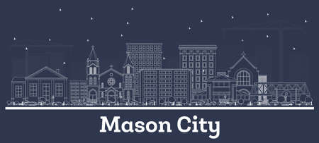 Outline Mason City Iowa Skyline with White Buildings. Vector Illustration. Business Travel and Tourism Concept with Historic Architecture. Mason City Cityscape with Landmarks.