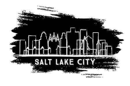 Salt Lake City Utah USA City Skyline Silhouette. Hand Drawn Sketch. Business Travel and Tourism Concept with Historic Architecture. Vector Illustration. Salt Lake City Cityscape with Landmarks.