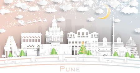 Pune India City Skyline in Paper Cut Style with Snowflakes, Moon and Neon Garland. Vector Illustration. Christmas and New Year Concept. Santa Claus on Sleigh.