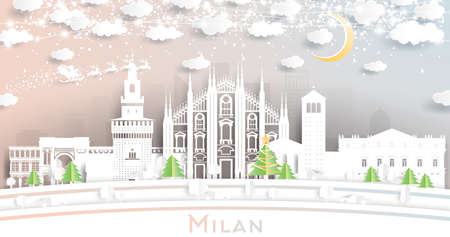 Milan Italy City Skyline in Paper Cut Style with Snowflakes, Moon and Neon Garland. Vector Illustration. Christmas and New Year Concept. Santa Claus on Sleigh. Ilustrace