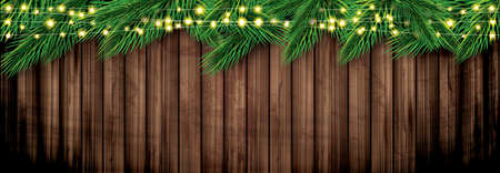Fir Branch with Neon Lights on Wooden Background. Vector Illustration. Pine Sprigs on Above. Ilustrace
