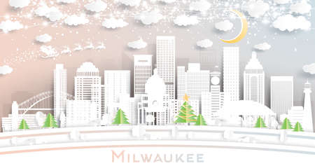 Milwaukee Wisconsin City Skyline in Paper Cut Style with Snowflakes, Moon and Neon Garland. Vector Illustration. Christmas and New Year Concept. Santa Claus on Sleigh. Ilustrace