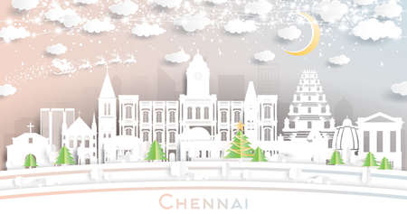 Chennai India City Skyline in Paper Cut Style with Snowflakes, Moon and Neon Garland. Vector Illustration. Christmas and New Year Concept. Santa Claus on Sleigh.