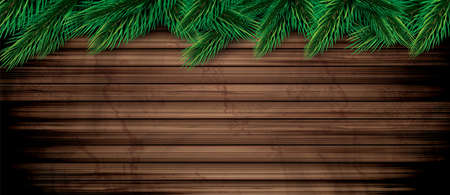 Fir Branches on Wooden Background. Vector Illustration. Pine Sprigs on Above. Christmas and New Year Decoration. Ilustrace