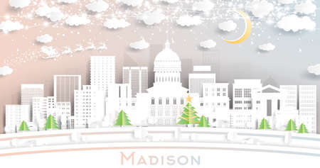 Madison Wisconsin City Skyline in Paper Cut Style with Snowflakes, Moon and Neon Garland. Vector Illustration. Christmas and New Year Concept. Santa Claus on Sleigh.