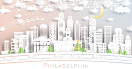 Philadelphia Pennsylvania USA City Skyline in Paper Cut Style with Snowflakes, Moon and Neon Garland. Vector Illustration. Christmas and New Year Concept. Santa Claus on Sleigh.