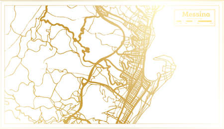 Messina Italy City Map in Retro Style in Golden Color. Outline Map. Vector Illustration.