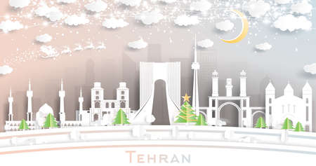 Tehran Iran City Skyline in Paper Cut Style with Snowflakes, Moon and Neon Garland. Vector Illustration. Christmas and New Year Concept. Santa Claus on Sleigh.