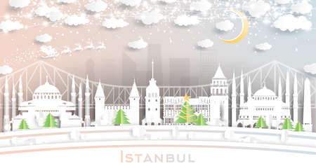 Istanbul Turkey City Skyline in Paper Cut Style with Snowflakes, Moon and Neon Garland. Vector Illustration. Christmas and New Year Concept. Santa Claus on Sleigh.