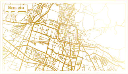 Brescia Italy City Map in Retro Style in Golden Color. Outline Map. Vector Illustration.
