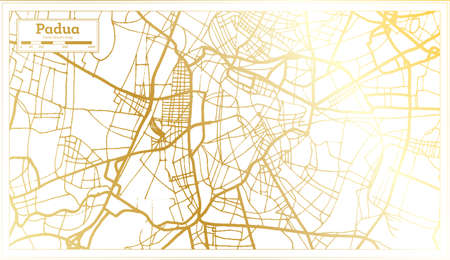 Padua Italy City Map in Retro Style in Golden Color. Outline Map. Vector Illustration. Ilustrace