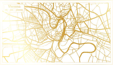 Verona Italy City Map in Retro Style in Golden Color. Outline Map. Vector Illustration.