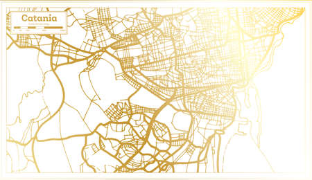Catania Italy City Map in Retro Style in Golden Color. Outline Map. Vector Illustration.