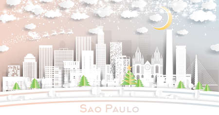 Sao Paulo Brazil City Skyline in Paper Cut Style with Snowflakes, Moon and Neon Garland. Vector Illustration. Christmas and New Year Concept. Santa Claus on Sleigh.