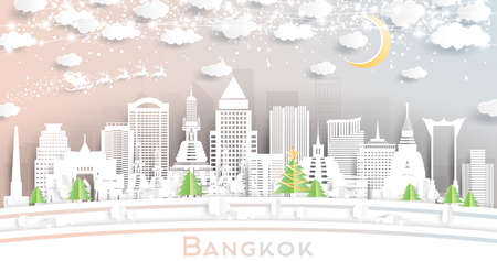 Bangkok Thailand City Skyline in Paper Cut Style with Snowflakes, Moon and Neon Garland. Vector Illustration. Christmas and New Year Concept. Santa Claus on Sleigh.