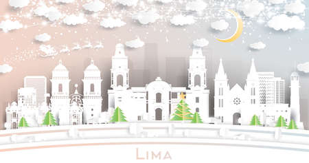 Lima Peru City Skyline in Paper Cut Style with Snowflakes, Moon and Neon Garland. Vector Illustration. Christmas and New Year Concept. Santa Claus on Sleigh.