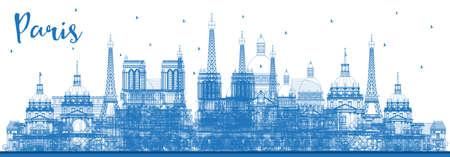 Outline Paris France City Skyline with Blue Buildings. Vector Illustration. Business Travel and Concept with Historic Architecture. Paris Cityscape with Landmarks