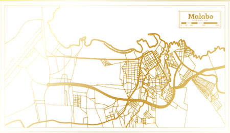 Malabo Equatorial Guinea City Map in Retro Style in Golden Color. Outline Map. Vector Illustration. Ilustración de vector