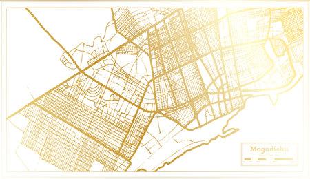 Mogadishu Somalia City Map in Retro Style in Golden Color. Outline Map. Vector Illustration. Illustration