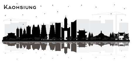 Kaohsiung Taiwan City Skyline Silhouette with Black Buildings and Reflections Isolated on White. Vector Illustration. Tourism Concept with Historic Architecture. Kaohsiung China Cityscape with Landmarks.