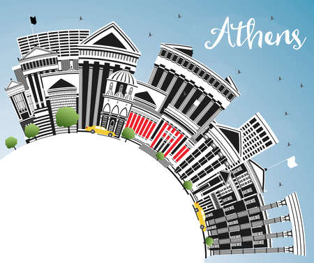 Athens Greece City Skyline with Color Buildings, Blue Sky and Copy Space. Vector Illustration. Business Travel and Tourism Concept with Historic and Modern Architecture. Athens Cityscape with Landmarks.