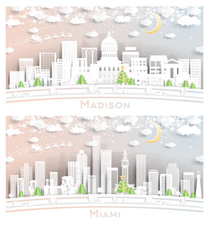Miami Florida and Madison Wisconsin City Skyline Set in Paper Cut Style with Snowflakes, Moon and Neon Garland.