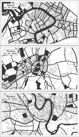 Vicenza, Verona and Venice Italy City Map Set in Black and White Color in Retro Style. Outline Map.
