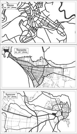 Taranto, Syracuse and Siena Italy City Map Set in Black and White Color in Retro Style. Outline Map. 版權商用圖片