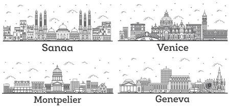 Outline Montpelier Vermont, Venice Italy, Geneva Switzerland and Sanaa Yemen City Skylines Set with Historic Buildings Isolated on White. 版權商用圖片 - 161600217