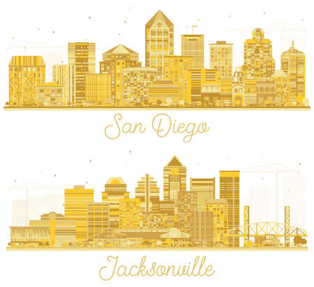 Jacksonville Florida and San Diego California USA City Skyline Silhouette Set with Golden Buildings Isolated on White. 版權商用圖片 - 161600218