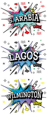 Saudi Arabia, Wilmington and Lagos Comic Text Set in Pop Art Style Isolated on White Background.