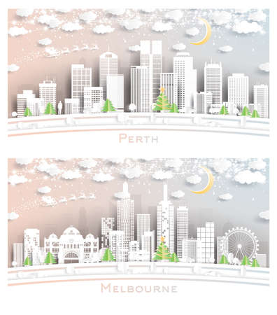 Melbourne and Perth Australia City Skyline Set in Paper Cut Style with Snowflakes, Moon and Neon Garland. 版權商用圖片