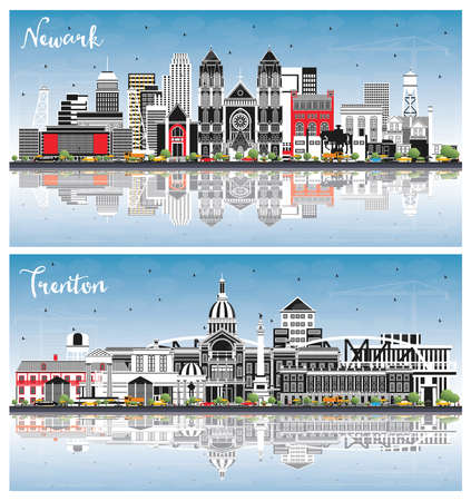 Trenton and Newark New Jersey City Skylines Set with Color Buildings, Blue Sky and Reflections. Cityscapes with Landmarks. Business Travel and Tourism Concept with Modern Architecture. 版權商用圖片 - 161600221