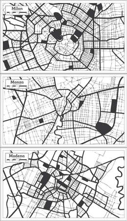 Monza, Modena and Milan Italy City Map Set in Black and White Color in Retro Style. Outline Map. 版權商用圖片