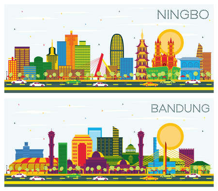 Bandung Indonesia and Ningbo China City Skylines Set with Color Buildings and Blue Sky. 版權商用圖片 - 161600225