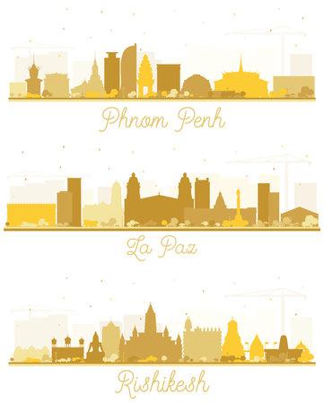 La Paz Bolivia, Rishikesh India and Phnom Penh Cambodia City Skyline Silhouettes Set with Golden Buildings Isolated on White. 版權商用圖片
